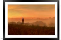 Church spire in the mist,, Framed Mounted Print