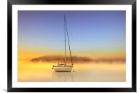 Boat in the golden mist, Framed Mounted Print