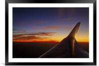mile high starboard wing and sunset, Framed Mounted Print