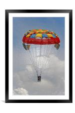 Ladies paragliders on cloud nine, Framed Mounted Print