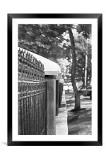 Panchim Railings under streetlight, Framed Mounted Print