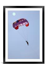 Male and Female gliders in clear blue sky, Framed Mounted Print