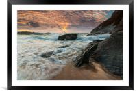 Lusty Glaze Cove at Sunset, Framed Mounted Print