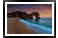 Durdle Door Sunset Wave, Framed Mounted Print