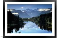 Lake Matheson Mountain Reflection, Framed Mounted Print