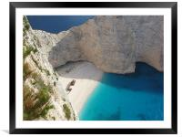 Shipwreck Cove, Zakynthos, Framed Mounted Print