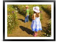 Children in the wildflower meadow, Framed Mounted Print