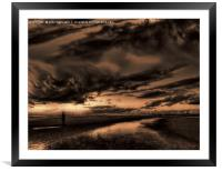 Another place at sunset , Framed Mounted Print