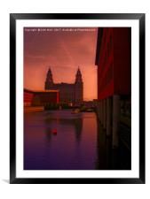 Liver Building from the Princes Dock, Framed Mounted Print