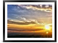 Sunset on the beach (Digital Painting), Framed Mounted Print