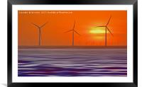 Windmills in the Sun (Digital Art) , Framed Mounted Print