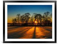 Sunset on snow Kinross, Framed Mounted Print