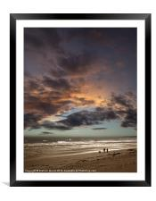 Couple walking on beach at sunset, Framed Mounted Print