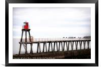 Whitby harbour pier, Framed Mounted Print