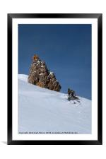 Snow and Rock, Framed Mounted Print