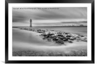 High tide at Perch Rock lighthouse in New Brighton, Framed Mounted Print