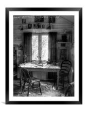 Dylans Desk in The Writing Shed , Framed Mounted Print