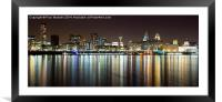Liverpool skyline in the night, Framed Mounted Print