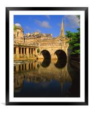 Pulteney Bridge & River Avon in Bath, Framed Mounted Print