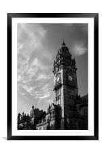 Sheffield Town Hall in Mono, Framed Mounted Print