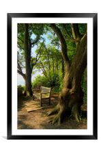 Bench with a View, Durlston Bay near Swanage, Framed Mounted Print