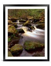 Falls & Rocks in Padley Gorge, Framed Mounted Print