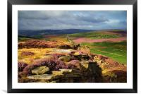 Burbage Rocks and Valley in Summer, Framed Mounted Print