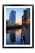Bridgewater Place and River Aire in Leeds , Framed Mounted Print