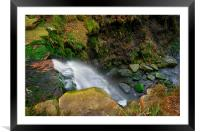 Looking Down Middle Black Clough Falls , Framed Mounted Print
