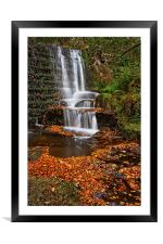 Lumsdale Autumn Leaves and Falls , Framed Mounted Print