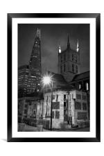 The Shard & Southwark Cathedral at Night , Framed Mounted Print