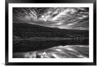 Ladybower Mono Reflections                        , Framed Mounted Print