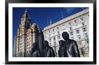 Beatles Statue and Liver Building                 , Framed Mounted Print