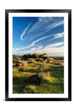 Owler Tor with Dramatic Sky                      , Framed Mounted Print
