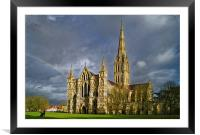 Salisbury Cathedral with Rainbow                  , Framed Mounted Print