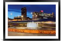 Sheaf Square Water Feature in Sheffield City Centr, Framed Mounted Print