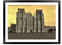 SEPIA WELLS CATHEDRAL WEST FRONT, Framed Mounted Print