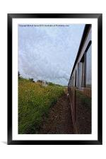 Steam train coach reflection, Framed Mounted Print