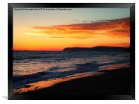 Sunset on Shore., Framed Print