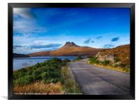 The road to Stac Pollaidh, Scottish Highlands, Framed Print
