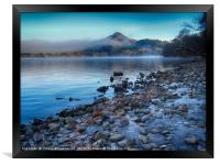 Conic Hill from Inch Cailloch, mist over water, Framed Print