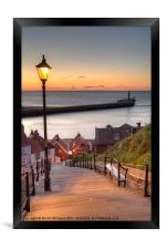 Whitby Steps - Orange Glow, Framed Print