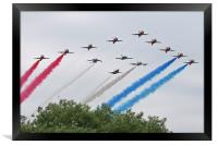 Red Arrows 50th anniversary Flypast, Framed Print