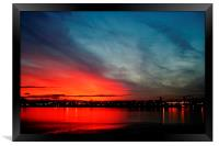 Overlooking The Mersey At Dusk, Framed Print