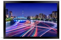 Rush Hour On Sumida River, Framed Print