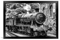 Black and white painting of Steam Train number 38, Framed Print