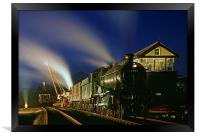 Re-railing a truck by night , Framed Print