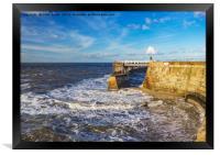 Swirling Sea at Whitby., Framed Print