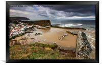 Staithes from the East cliff, Framed Print