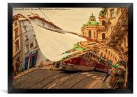 Turn the Page of Past Day. Prague Streets, Framed Print